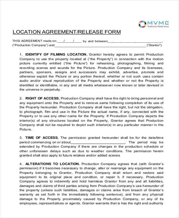 location agreement release form1