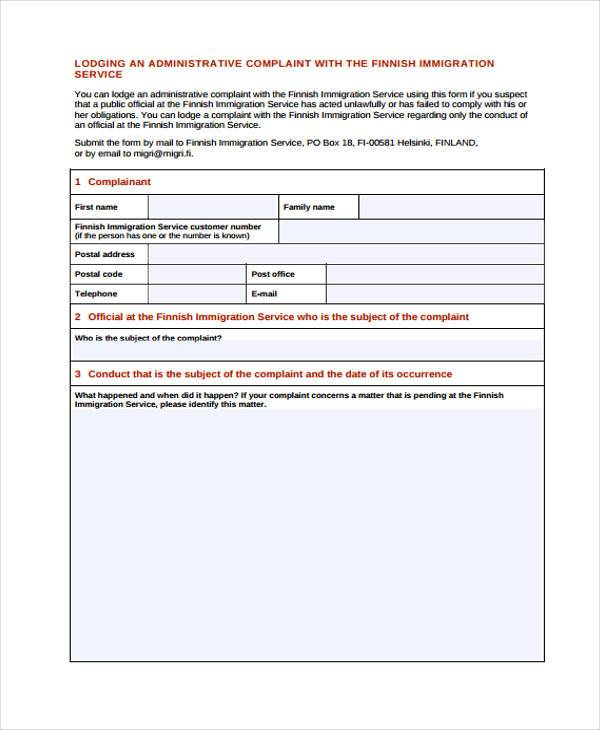 7 Administrative Complaint Form Samples Free Sample Example – Customer Complaint Form Examples