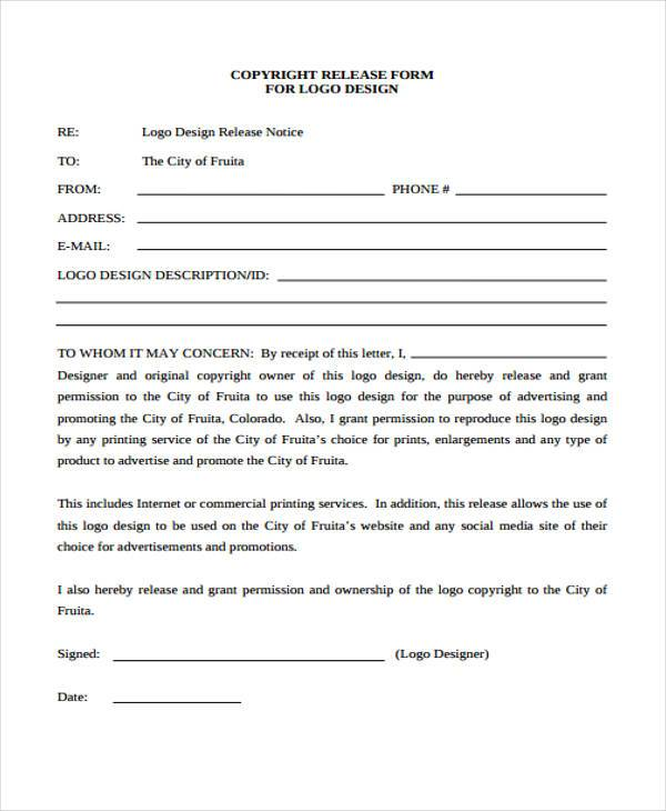 Copyright Release Form Samples  Free Sample Example Format