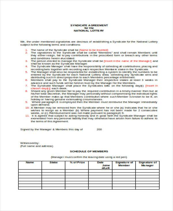 8 Lottery Syndicate Agreement Form Samples Free Sample Example