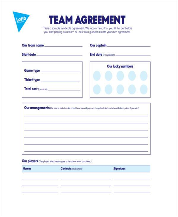 Sample Lottery Syndicate Agreement Forms 8 Free