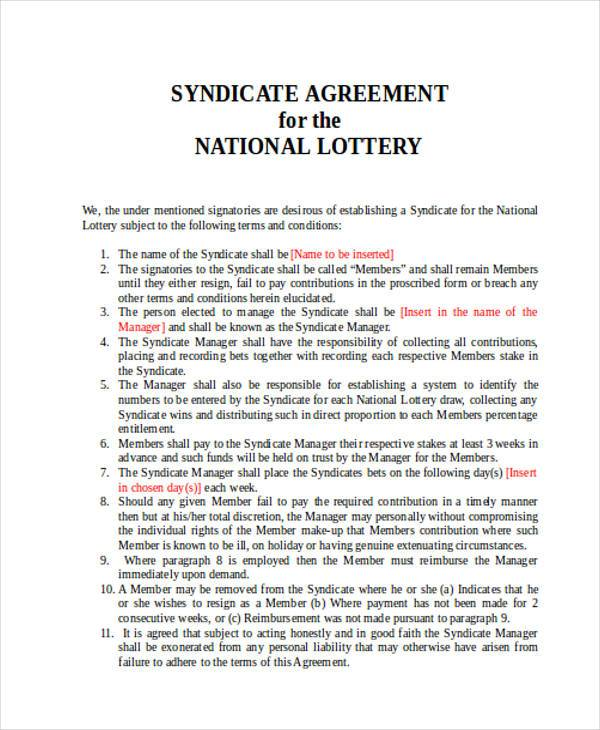 Lottery syndicate agreement template winning lotto 8 for Lottery group contract template