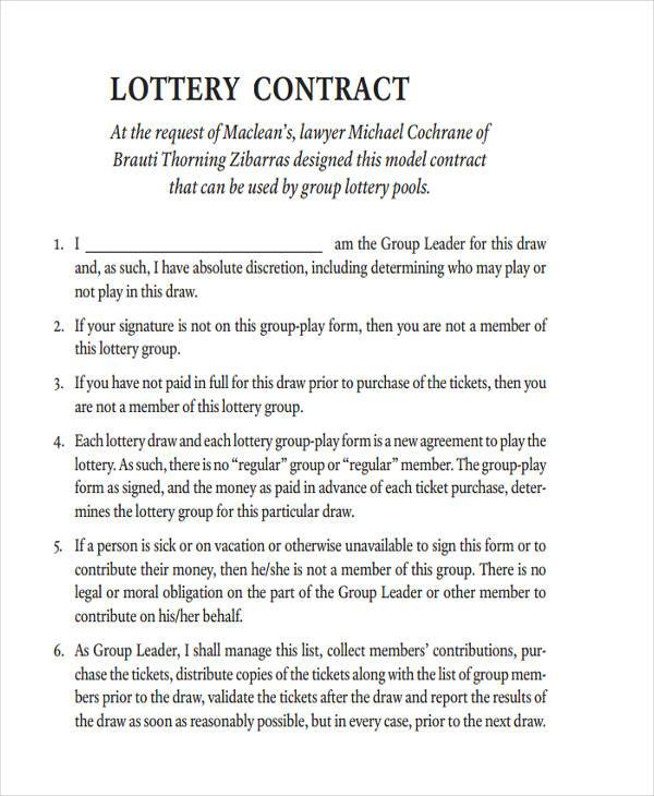 lottery group contract template sample lottery syndicate agreement forms 8 free