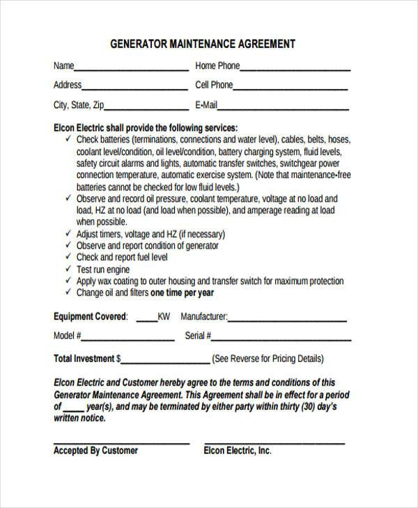 generator maintenance contract form example