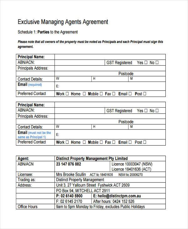 Sample Management Agreement Forms   Free Documents In Word Pdf