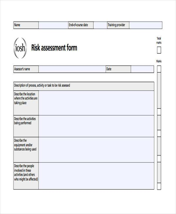 Risk Assessment Form Sample