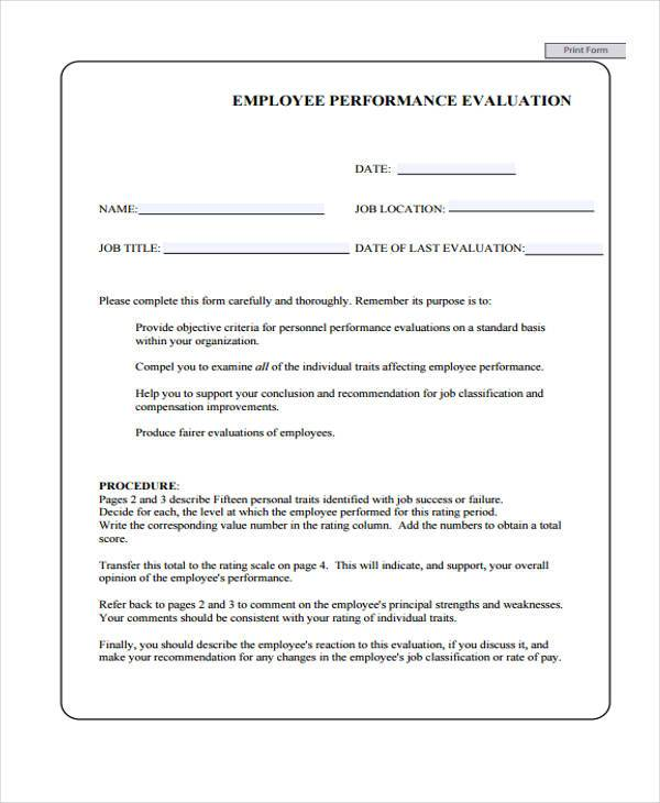 manager evaluation form for employees