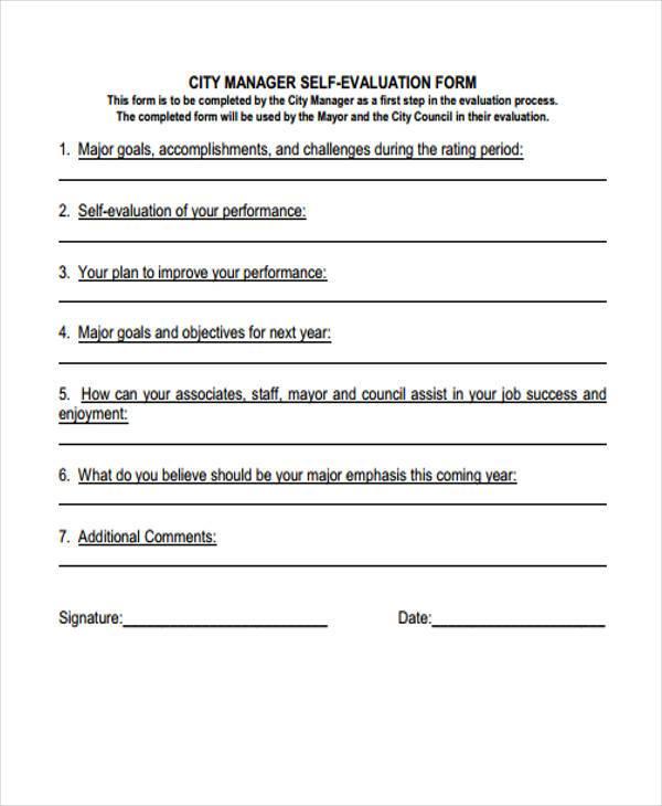 manager self evaluation form