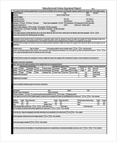 Home Appraisal Form Samples  Free Sample Example Format Download