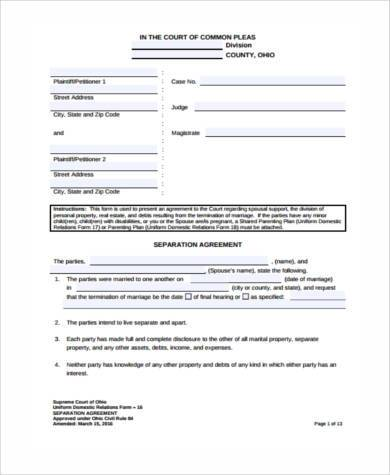sample Separation Agreement