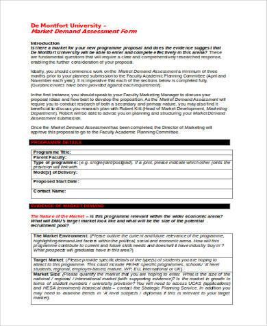 market demand assessment form