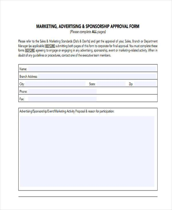 marketing advertising proposal form