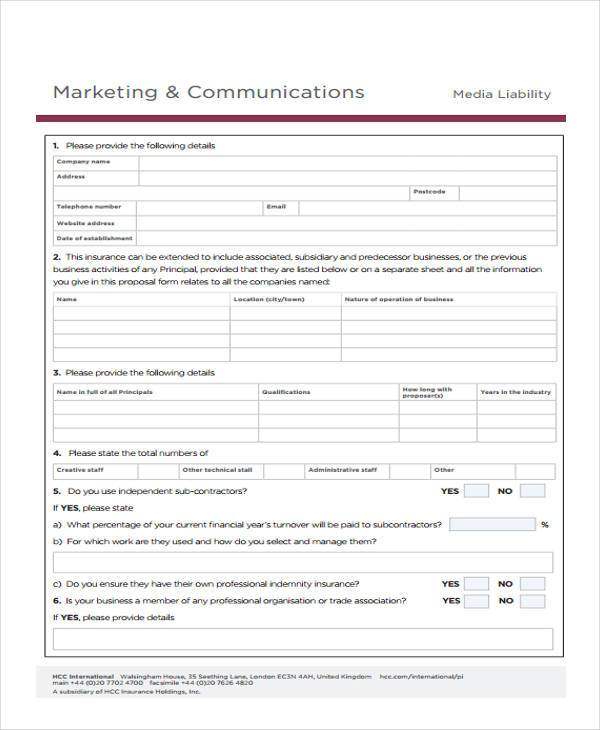 marketing and communications proposal form