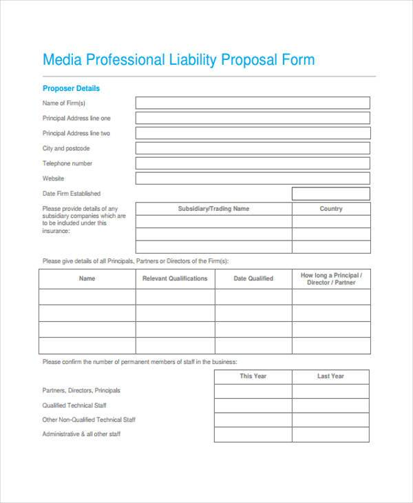 marketing and media proposal form