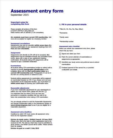 marketing assessment form in pdf