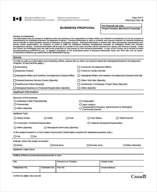 marketing business proposal form