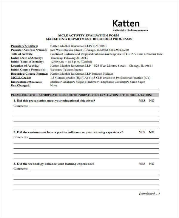 marketing department evaluation form