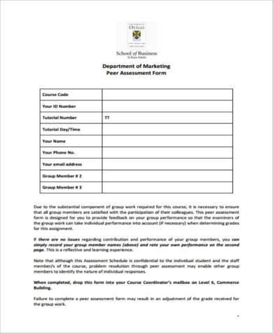 marketing peer assessment form