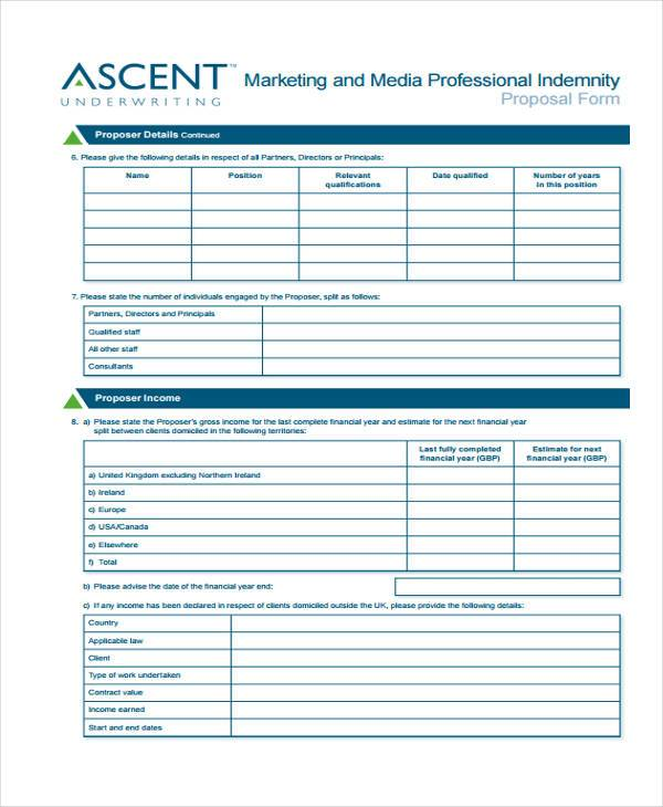marketing professional indemnity proposal form