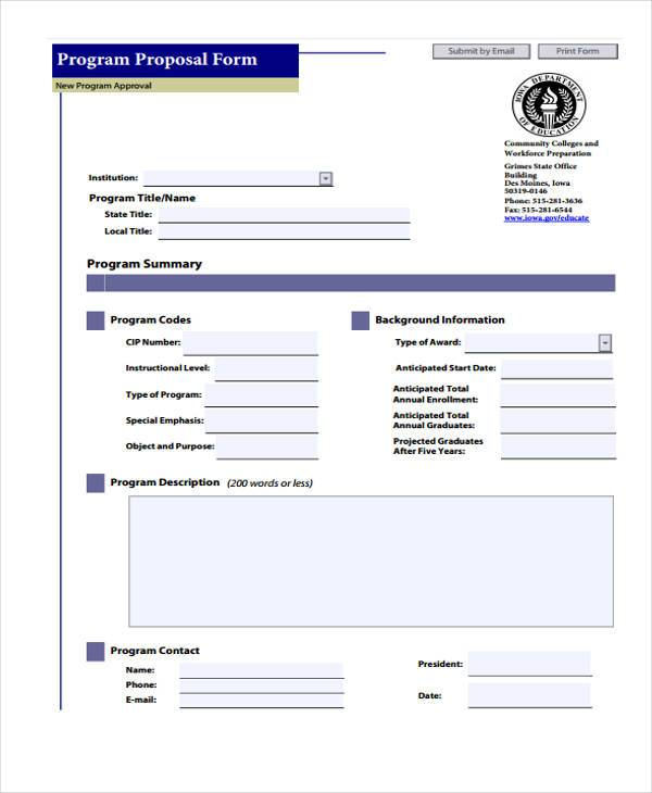 marketing program proposal form
