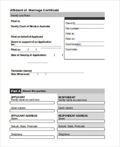 marriage certificate affidavit format