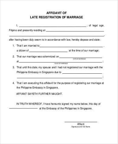marriage registration affidavit format