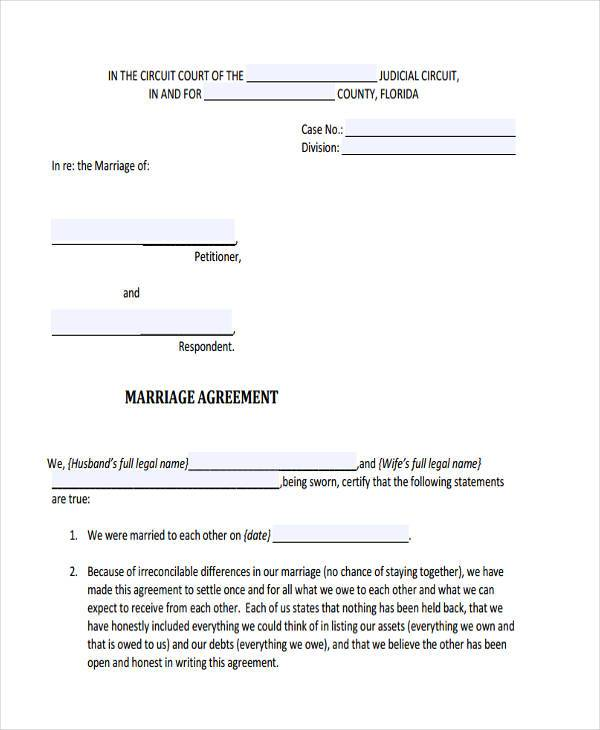 7 Separation Agreement Form Samples Free Sample Example Format