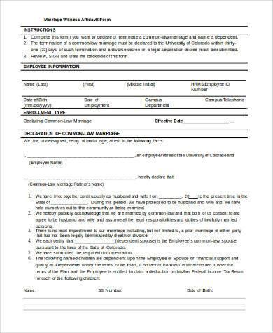 marriage witness affidavit form