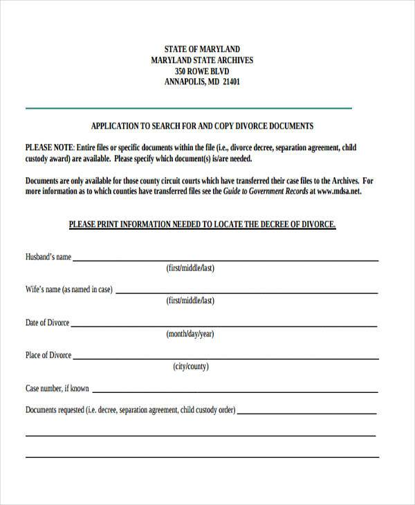 Maryland divorce forms for Seperation agreement template