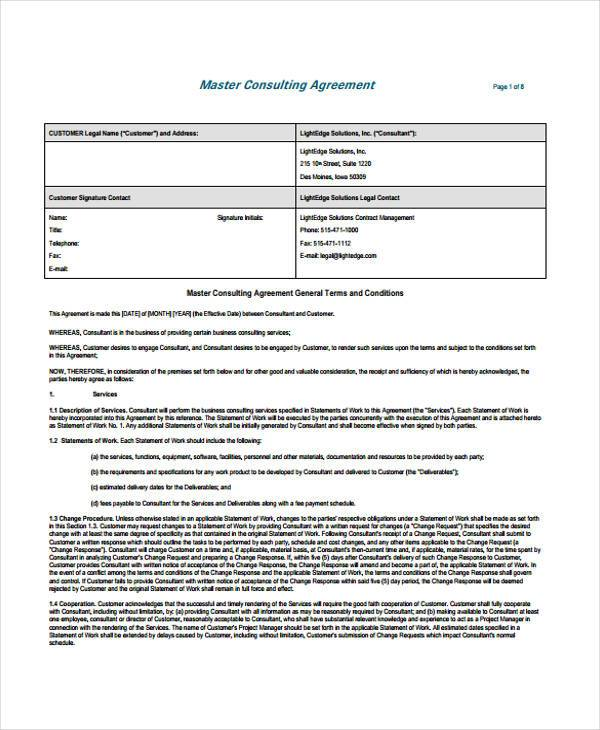 master consulting agreement form