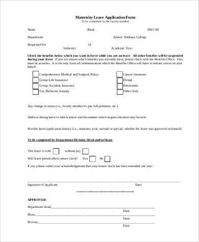 maternity leave application form