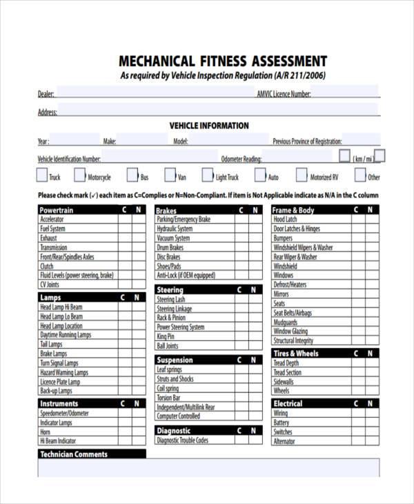 mechanical fitness assessment form