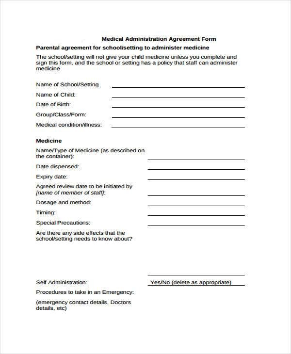 medical administration agreement form