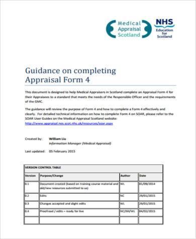 medical appraisal guide form