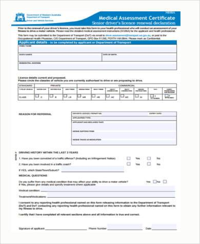 medical assessment certificate form