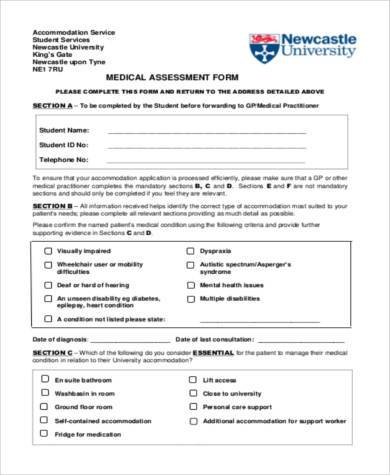 Sample Medical Assessment Forms   Free Documents In Word Pdf