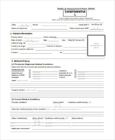 medical assessment form in word format
