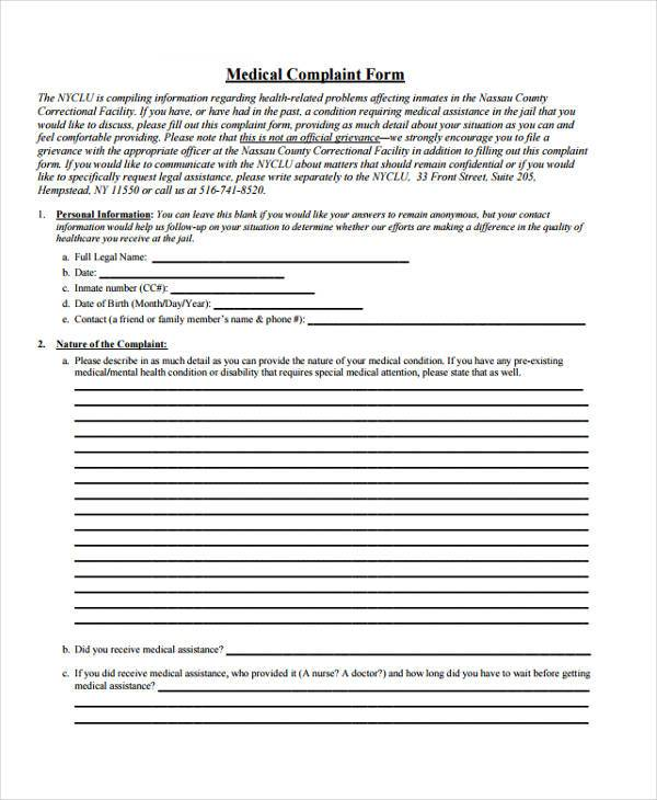 Sample Medical Complaint Forms - 7+ Free Documents In Word, Pdf
