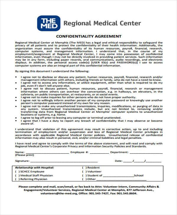8 Confidentiality Agreement Form Samples Free Sample Example – Medical Confidentiality Agreement