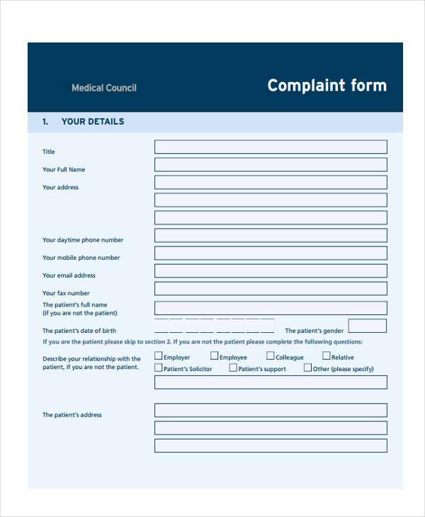 medical council complaint form