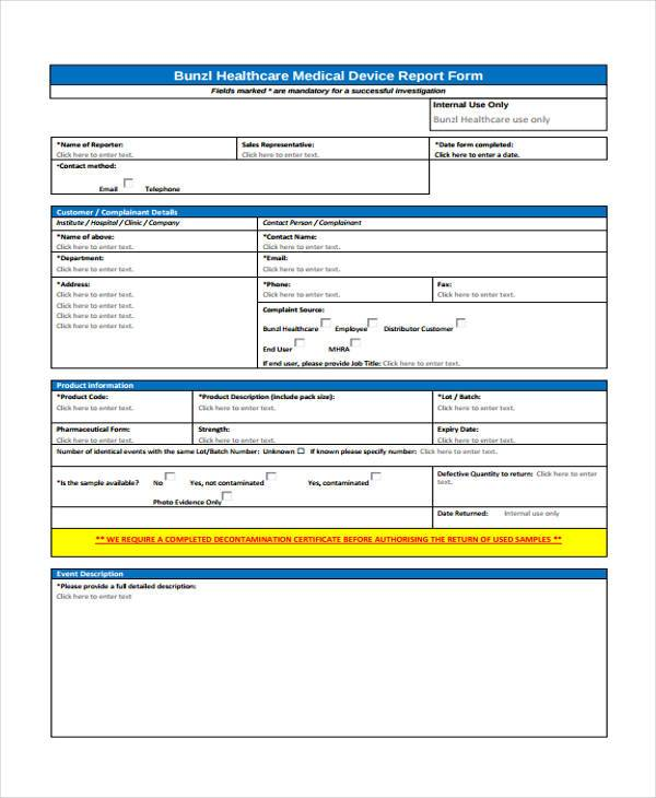 Medical Device Customer Complaint Form  Customer Complaints Form Template