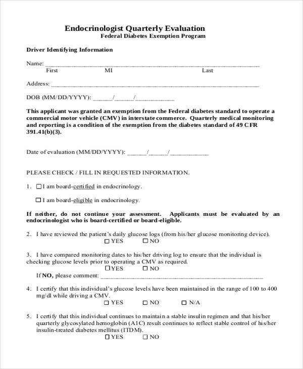 Medical Evaluation Form Samples  Free Sample Example Format
