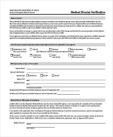 medical director verification form