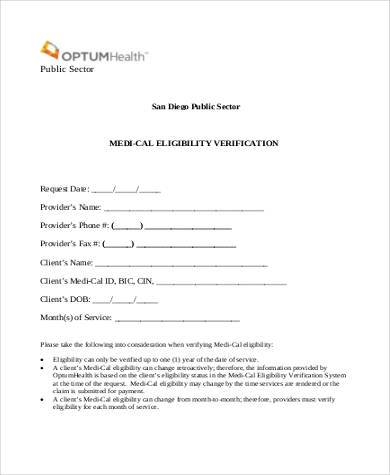 medical eligibility verification form