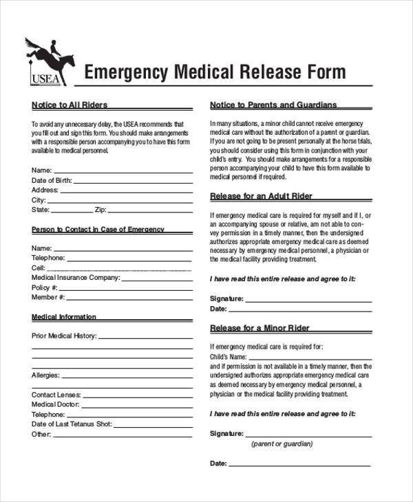 Emergency Release Form Samples  Free Sample Example Format Download