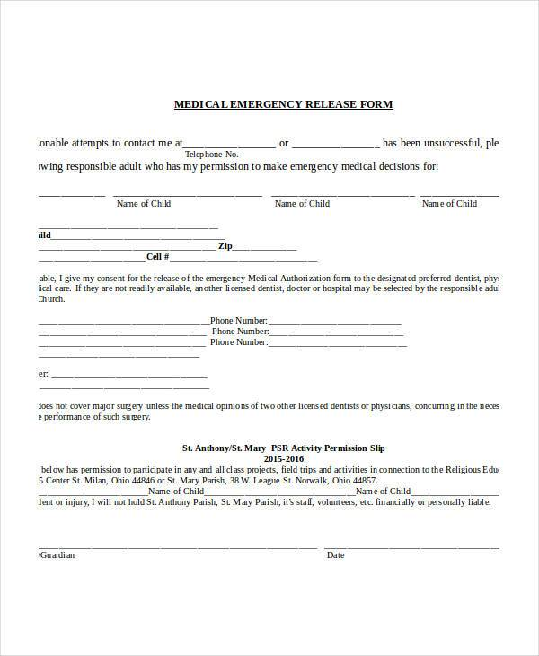 medical emergency release form1