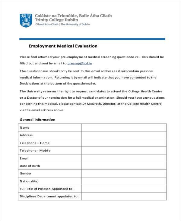 medical employment evaluation form