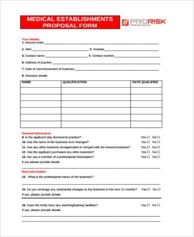 medical establishment proposal form