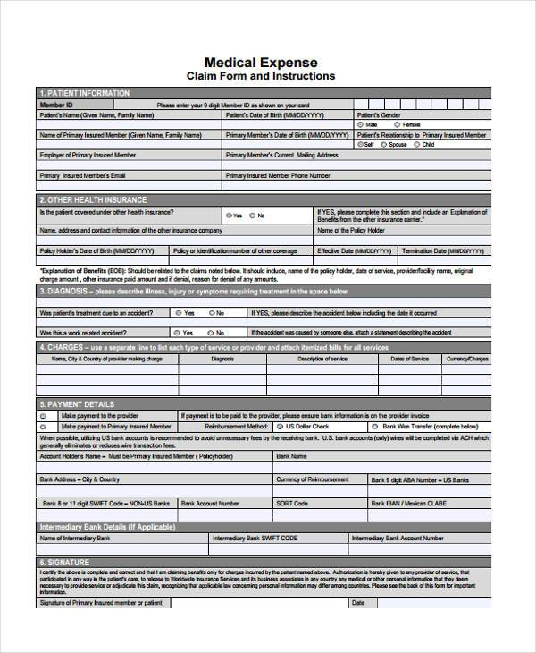 Sample Medical Expense Forms - 8+ Free Documents In Word, Pdf
