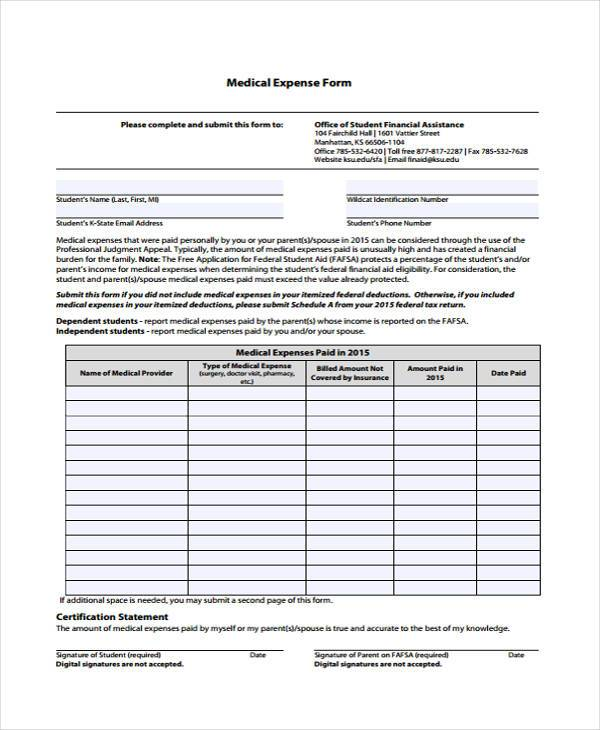 medical expense form in pdf